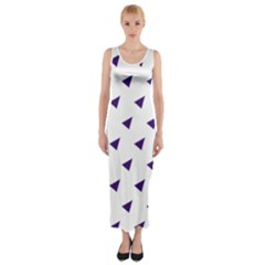 Triangle Purple Blue White Fitted Maxi Dress