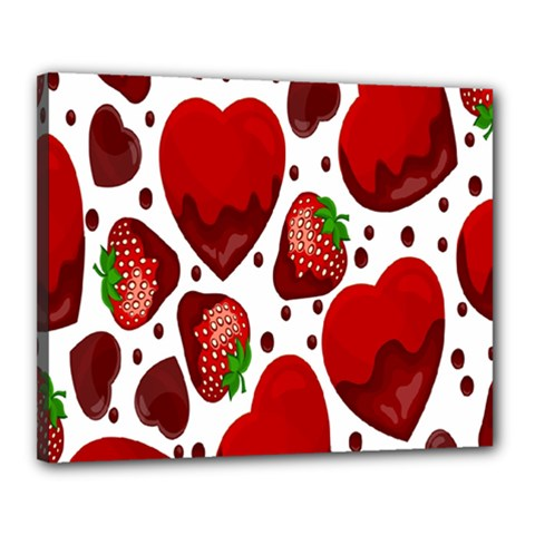 Strawberry Hearts Cocolate Love Valentine Pink Fruit Red Canvas 20  x 16