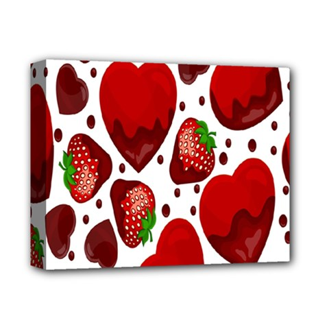 Strawberry Hearts Cocolate Love Valentine Pink Fruit Red Deluxe Canvas 14  x 11