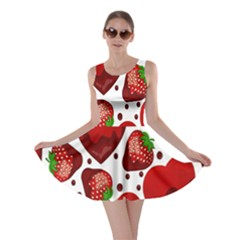 Strawberry Hearts Cocolate Love Valentine Pink Fruit Red Skater Dress