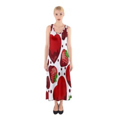 Strawberry Hearts Cocolate Love Valentine Pink Fruit Red Sleeveless Maxi Dress