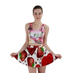 Strawberry Hearts Cocolate Love Valentine Pink Fruit Red Mini Skirt