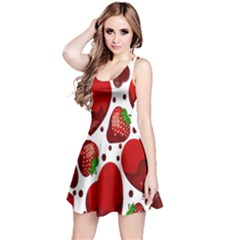 Strawberry Hearts Cocolate Love Valentine Pink Fruit Red Reversible Sleeveless Dress