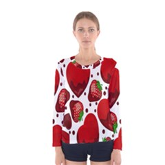 Strawberry Hearts Cocolate Love Valentine Pink Fruit Red Women s Long Sleeve Tee