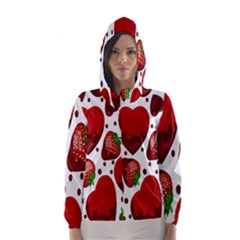 Strawberry Hearts Cocolate Love Valentine Pink Fruit Red Hooded Wind Breaker (Women)