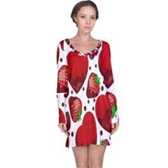 Strawberry Hearts Cocolate Love Valentine Pink Fruit Red Long Sleeve Nightdress