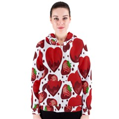 Strawberry Hearts Cocolate Love Valentine Pink Fruit Red Women s Zipper Hoodie