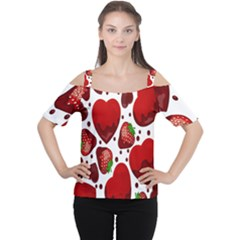 Strawberry Hearts Cocolate Love Valentine Pink Fruit Red Women s Cutout Shoulder Tee