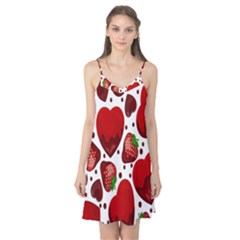 Strawberry Hearts Cocolate Love Valentine Pink Fruit Red Camis Nightgown