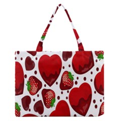 Strawberry Hearts Cocolate Love Valentine Pink Fruit Red Medium Zipper Tote Bag