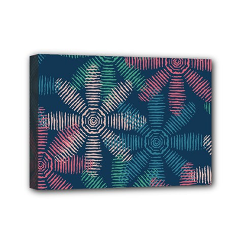 Spring Flower Red Grey Green Blue Mini Canvas 7  x 5