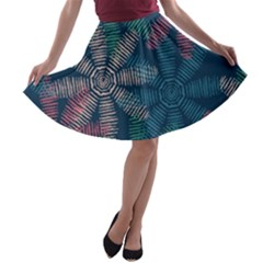 Spring Flower Red Grey Green Blue A-line Skater Skirt