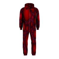 Voronoi Diagram Circle Red Hooded Jumpsuit (kids)