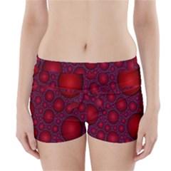 Voronoi Diagram Circle Red Boyleg Bikini Wrap Bottoms