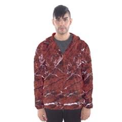 Texture Stone Red Hooded Wind Breaker (Men)
