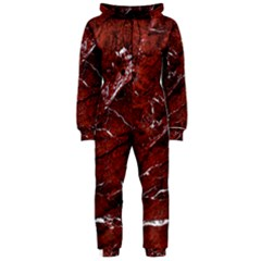 Texture Stone Red Hooded Jumpsuit (Ladies)