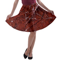 Texture Stone Red A-line Skater Skirt