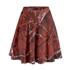 Texture Stone Red High Waist Skirt