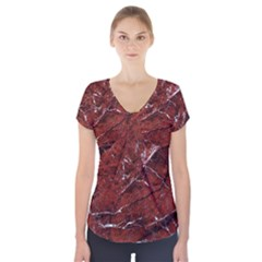 Texture Stone Red Short Sleeve Front Detail Top