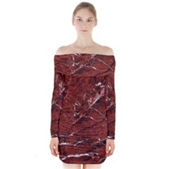 Texture Stone Red Long Sleeve Off Shoulder Dress