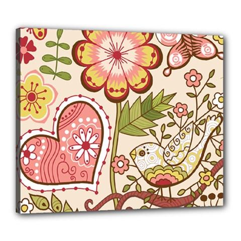 Seamless Texture Flowers Floral Rose Sunflower Leaf Animals Bird Pink Heart Valentine Love Canvas 24  x 20