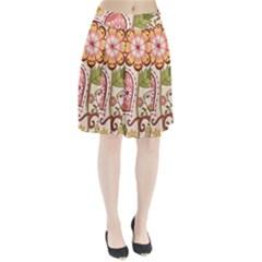 Seamless Texture Flowers Floral Rose Sunflower Leaf Animals Bird Pink Heart Valentine Love Pleated Skirt