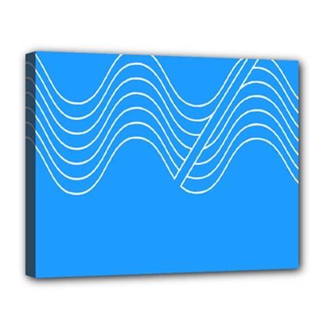 Waves Blue Sea Water Canvas 14  x 11