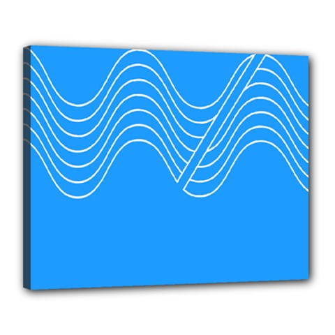 Waves Blue Sea Water Canvas 20  X 16