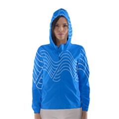 Waves Blue Sea Water Hooded Wind Breaker (Women)