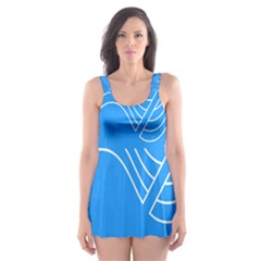 Waves Blue Sea Water Skater Dress Swimsuit