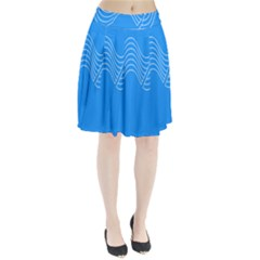 Waves Blue Sea Water Pleated Skirt