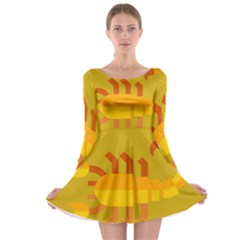 Animals Scorpio Zodiac Orange Yellow Long Sleeve Skater Dress