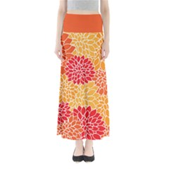 Red and Orange Floral Maxi Skirt