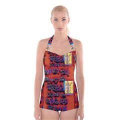 BIG RED SUN WALIN 72 Boyleg Halter Swimsuit