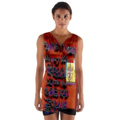 BIG RED SUN WALIN 72 Wrap Front Bodycon Dress
