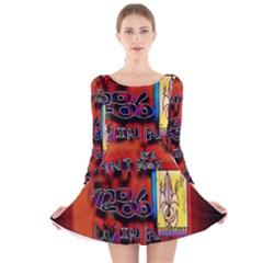 BIG RED SUN WALIN 72 Long Sleeve Velvet Skater Dress
