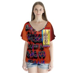 BIG RED SUN WALIN 72 Flutter Sleeve Top