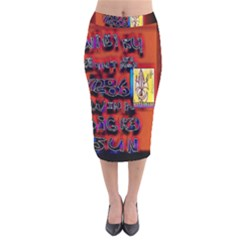 BIG RED SUN WALIN 72 Velvet Midi Pencil Skirt