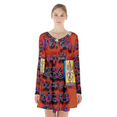 BIG RED SUN WALIN 72 Long Sleeve Velvet V-neck Dress
