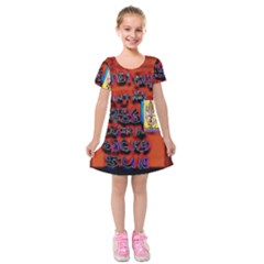 BIG RED SUN WALIN 72 Kids  Short Sleeve Velvet Dress