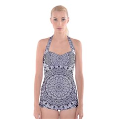 Mandala Boho Inspired Hippy Hippie Design Boyleg Halter Swimsuit