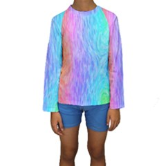 Abstract Color Pattern Textures Colouring Kids  Long Sleeve Swimwear