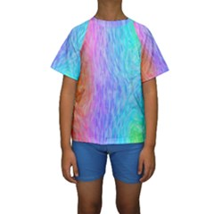 Abstract Color Pattern Textures Colouring Kids  Short Sleeve Swimwear