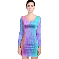 Abstract Color Pattern Textures Colouring Long Sleeve Bodycon Dress