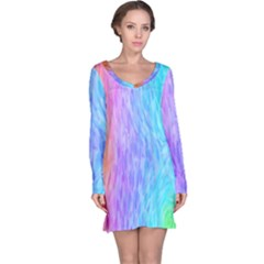 Abstract Color Pattern Textures Colouring Long Sleeve Nightdress