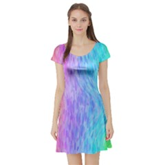 Abstract Color Pattern Textures Colouring Short Sleeve Skater Dress