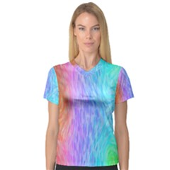 Abstract Color Pattern Textures Colouring Women s V Neck Sport Mesh Tee