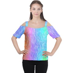 Abstract Color Pattern Textures Colouring Women s Cutout Shoulder Tee
