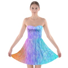 Abstract Color Pattern Textures Colouring Strapless Bra Top Dress