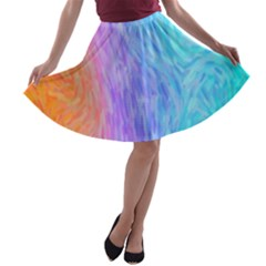 Abstract Color Pattern Textures Colouring A Line Skater Skirt